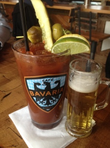 The Haus Bloody Mary at Cafe Bavaria in Wauwatosa.