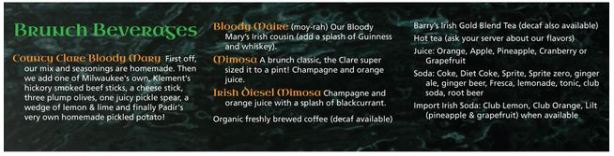 CC Brunch Beverage List